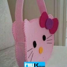 کیف نمدی دوشی طرح گربه ناز