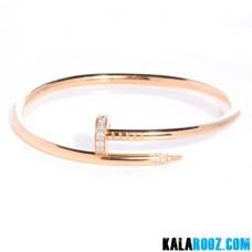 دستبند زنانه استیل کارتیر میخی نگین دار
