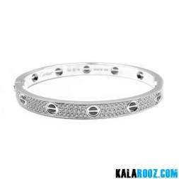 دستبند زنانه استیل کارتیر پیچی تمام نگین
